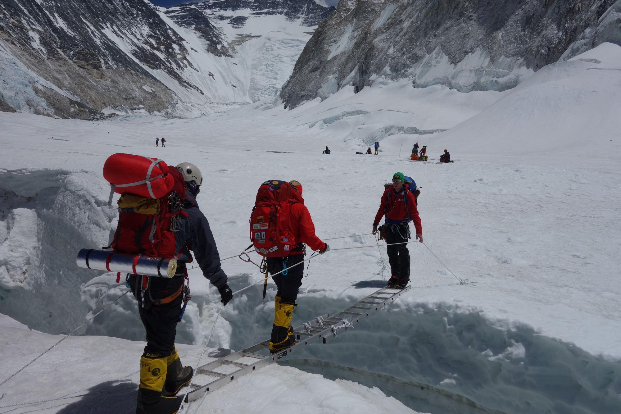 Between C1 and C2 in the Western Cwm on Everest, team work at its best.