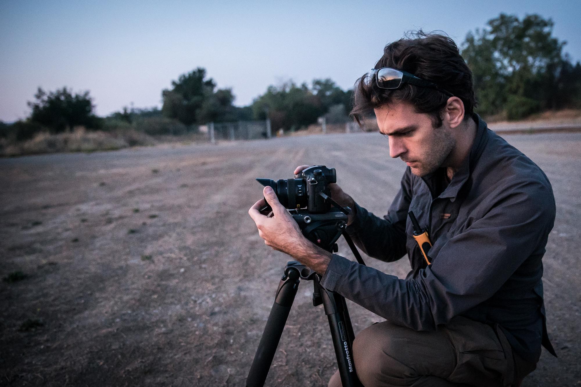 Ben Sherlock filming in Australian outback